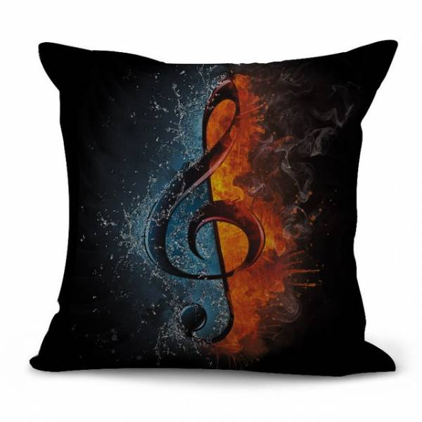 Pillow cover black burning clef